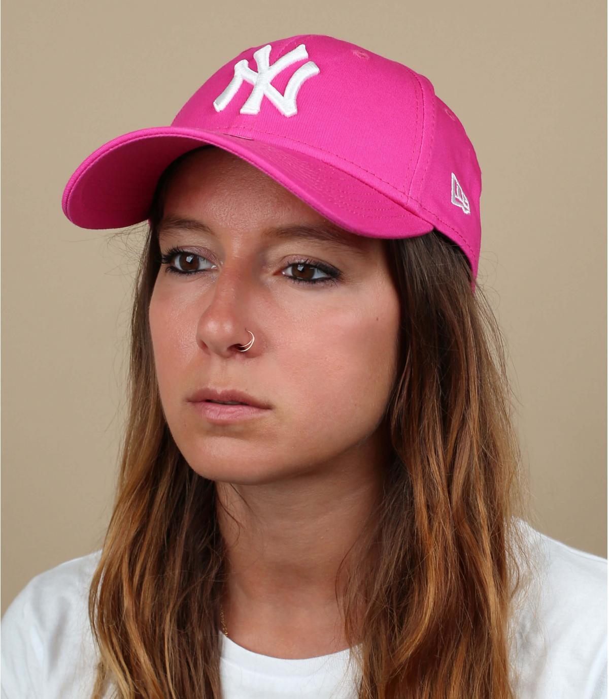 Pink curved visor cap