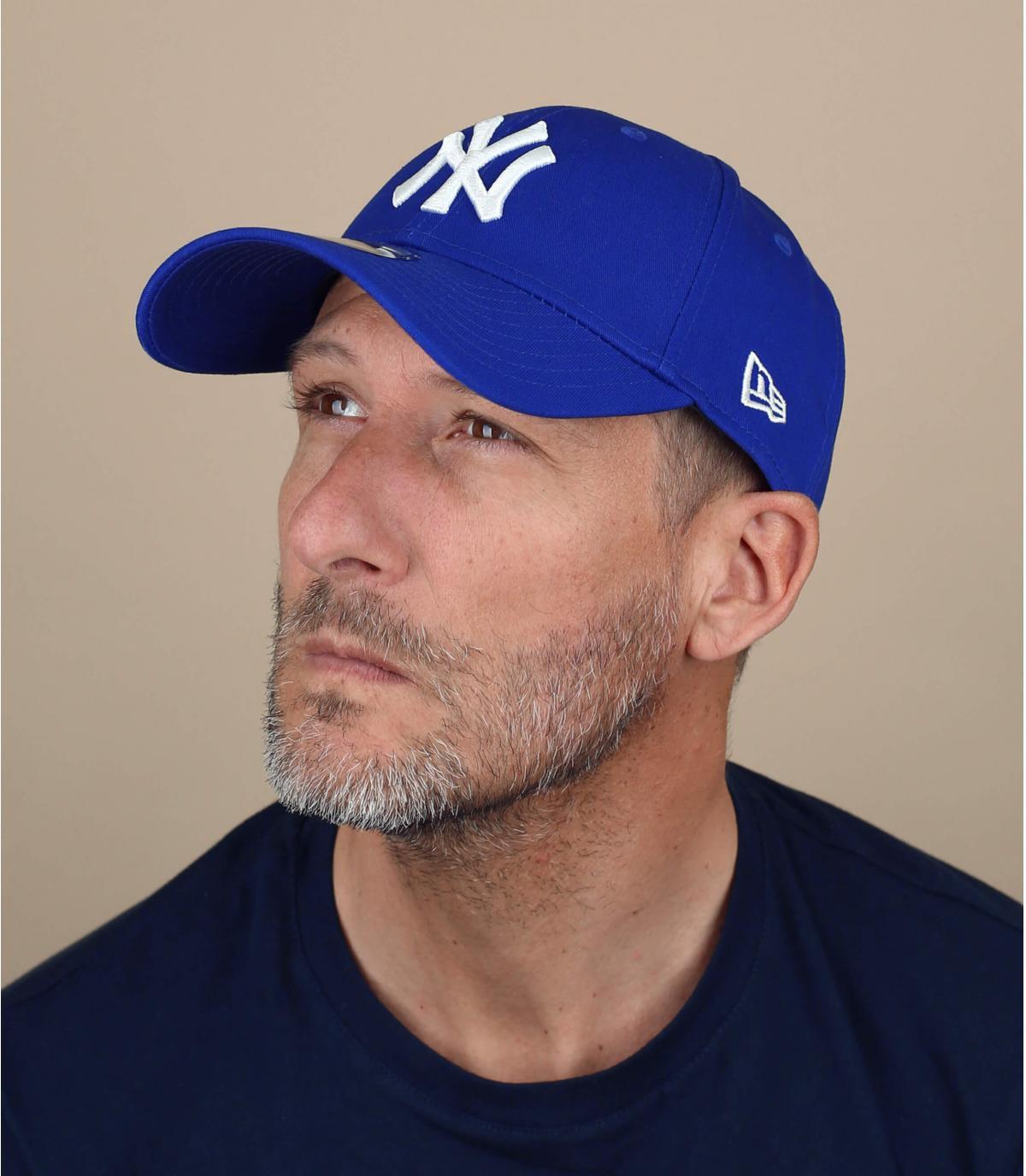 Royal blue curved visor cap