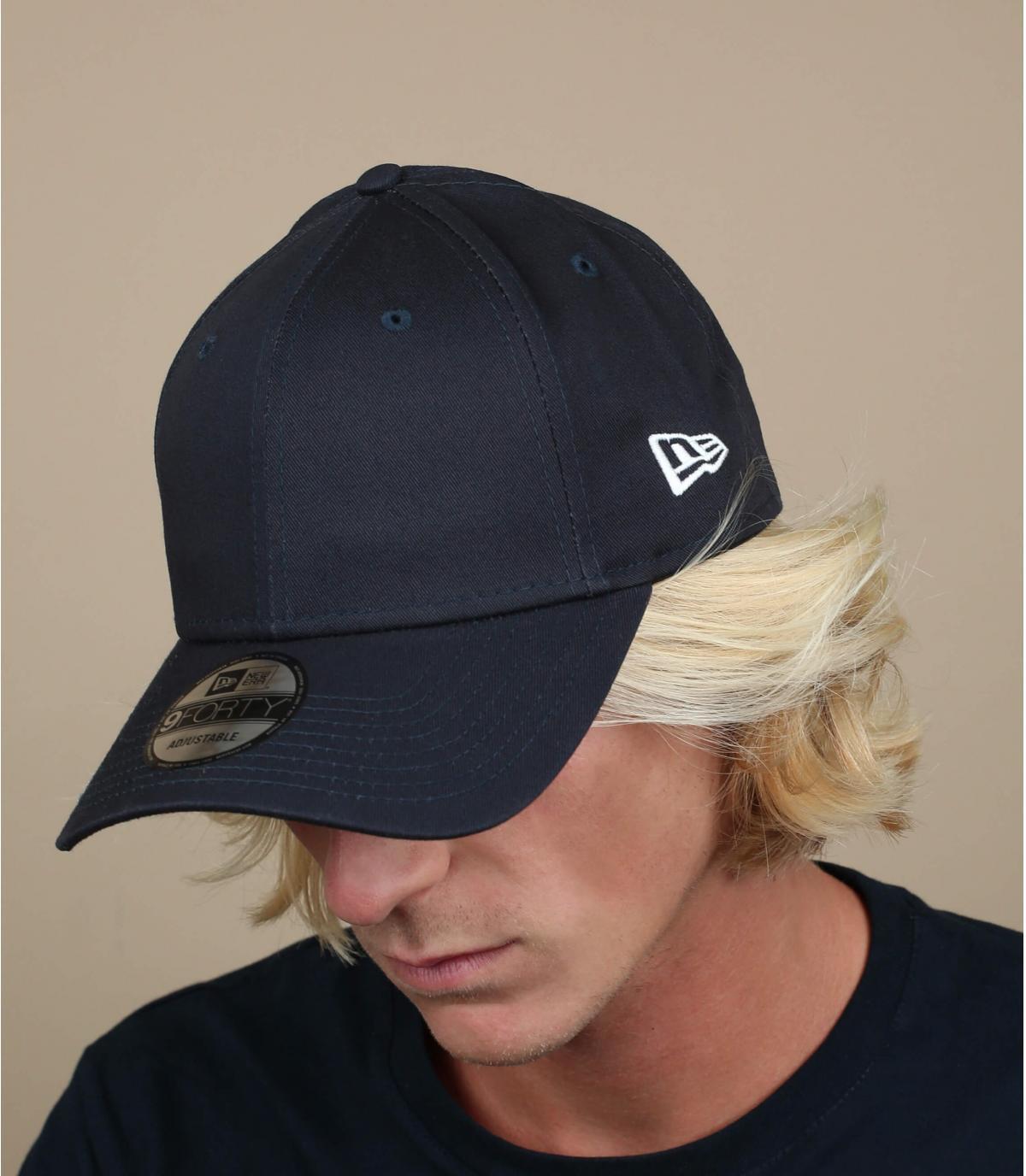 Navy curved visor cap