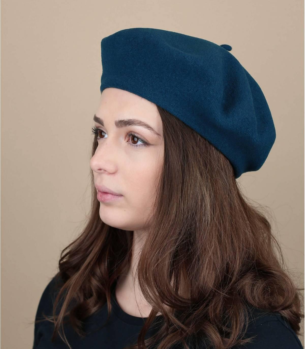 blue wool beret