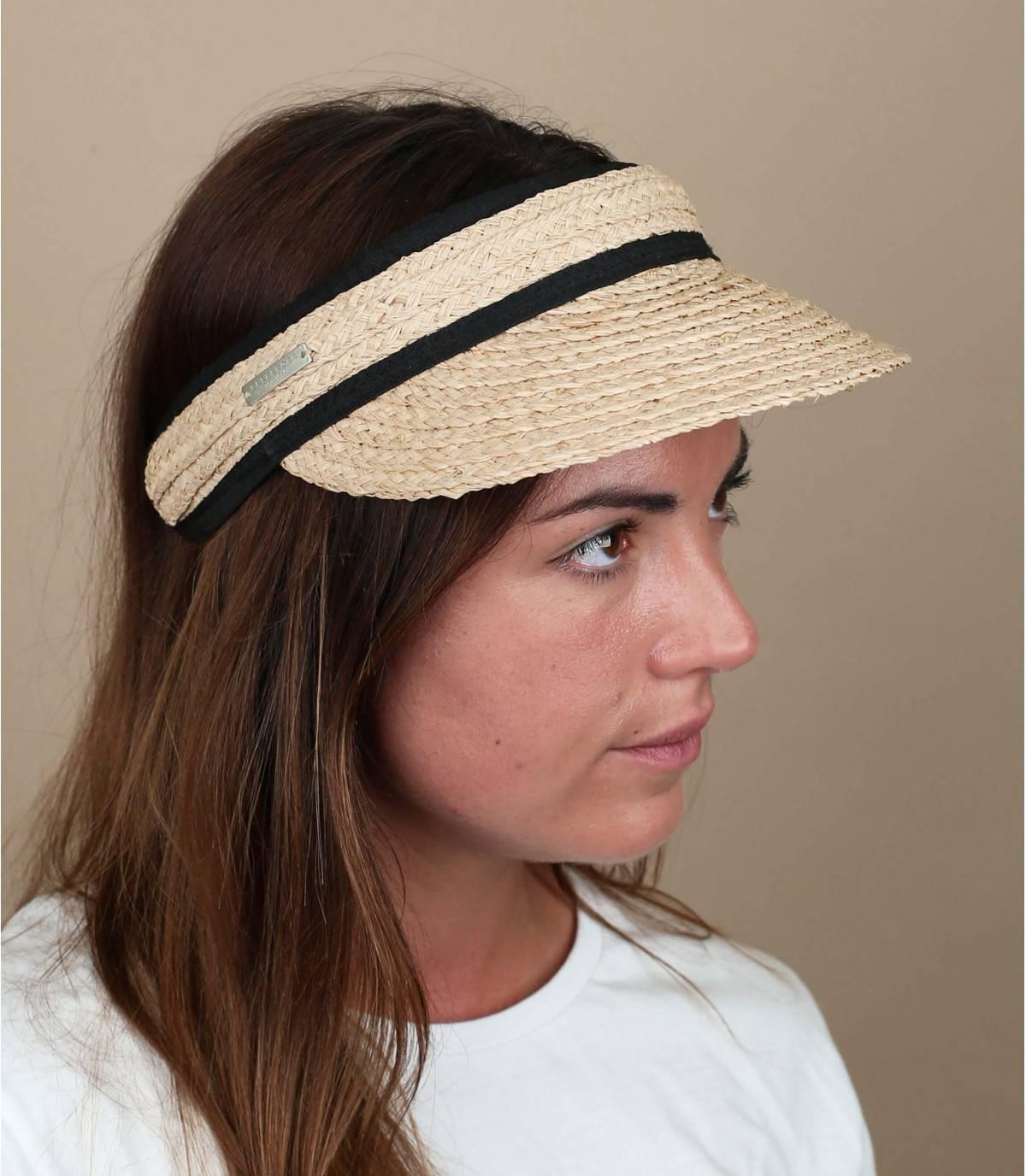 Beige black straw visor