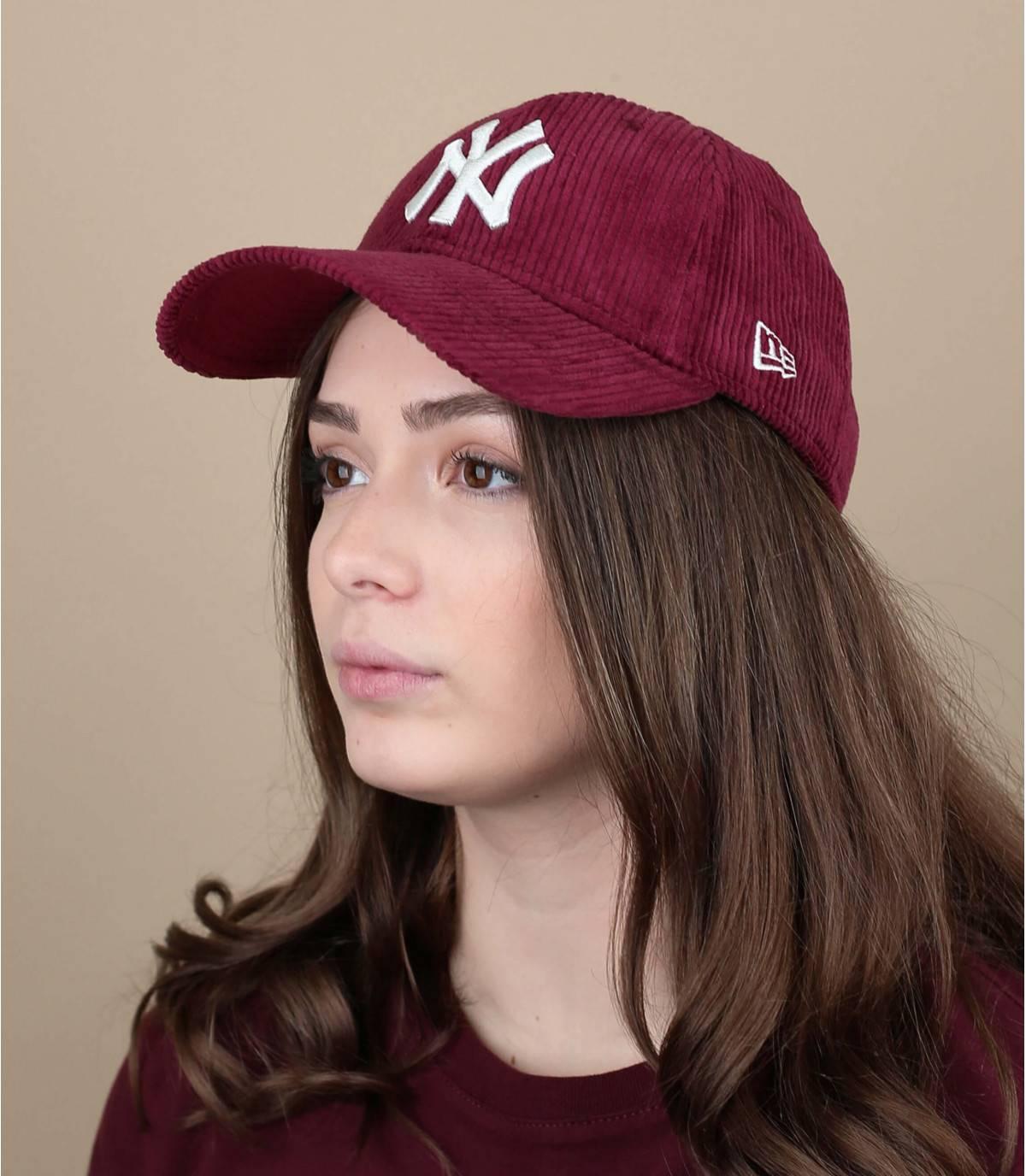 red corduroy NY cap