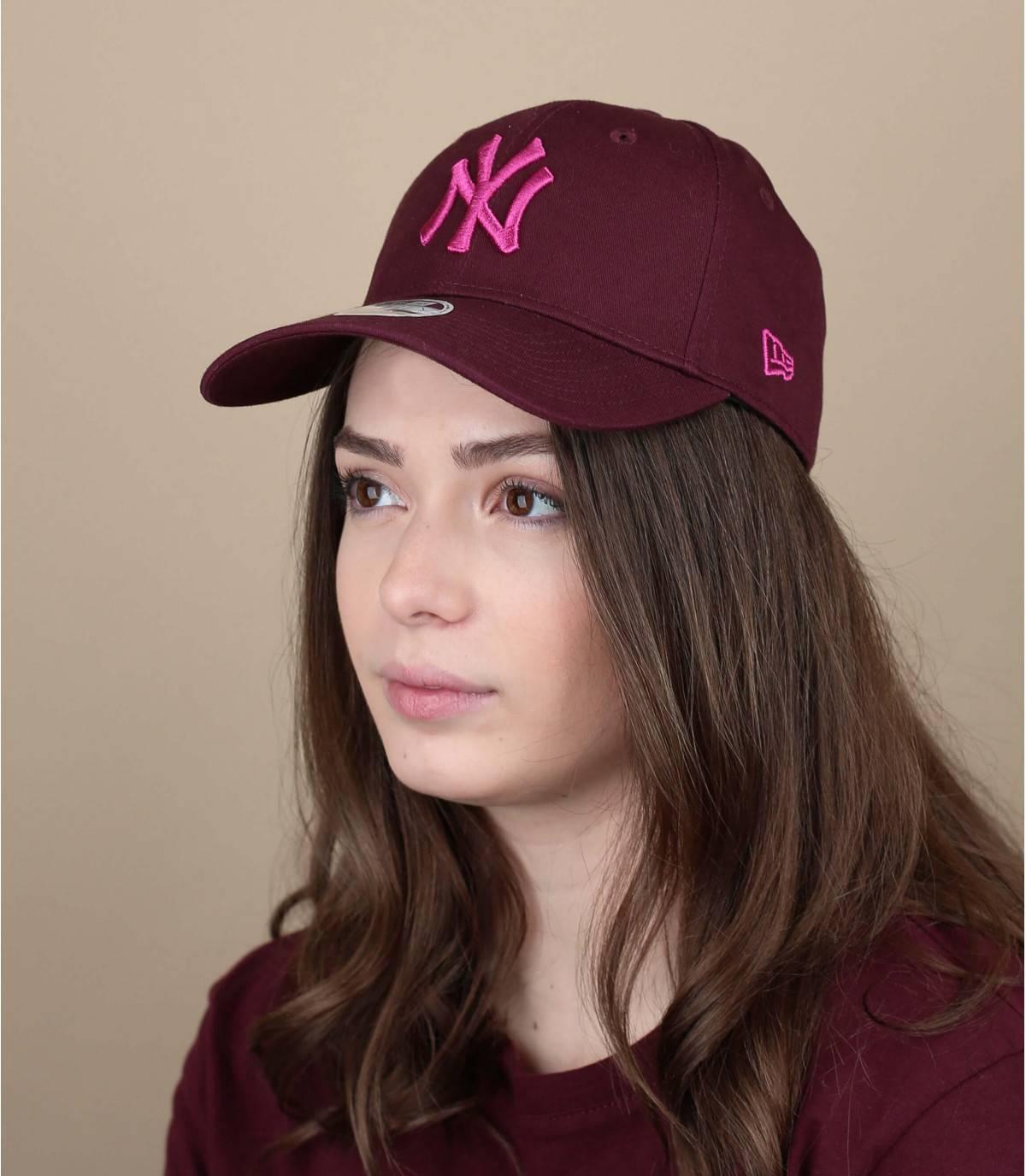 women burgundy cap