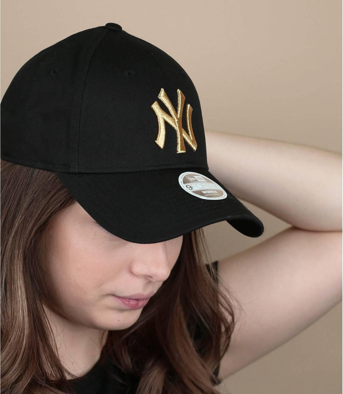 black gold women cap