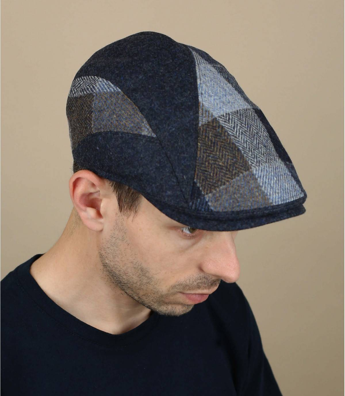 blue checked wool cap