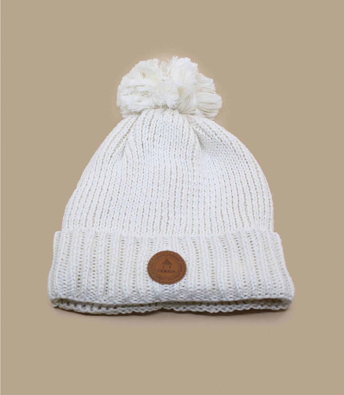 white pompom beanie