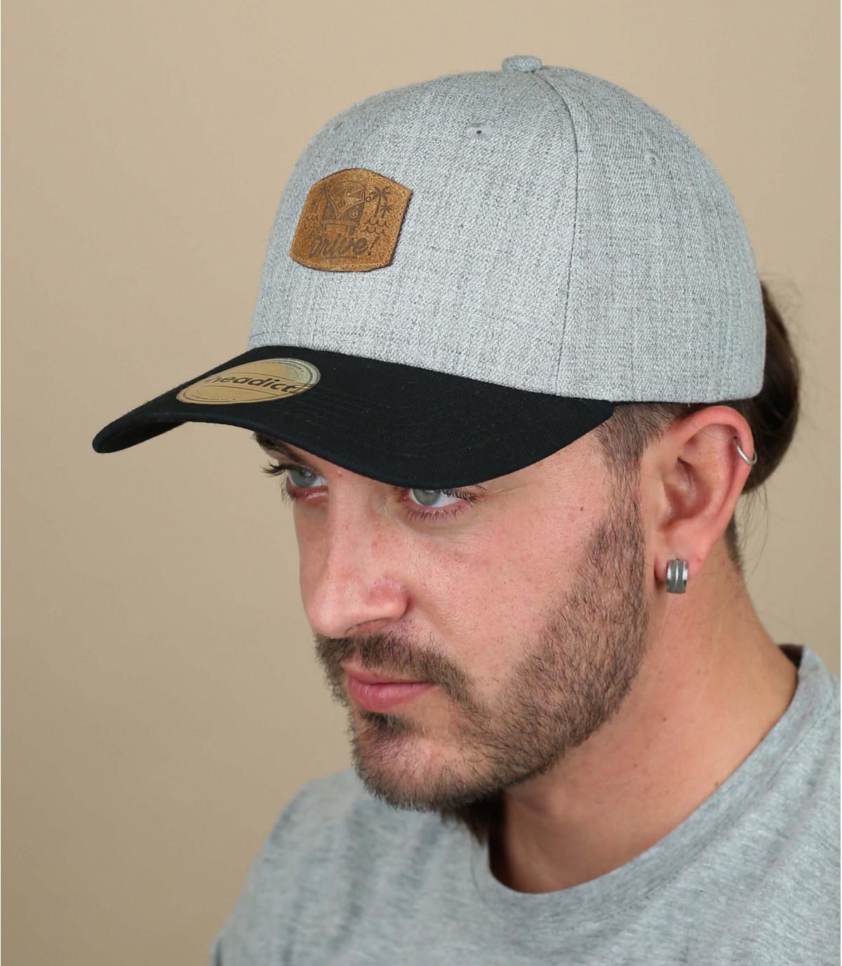 grey and black Drive cap