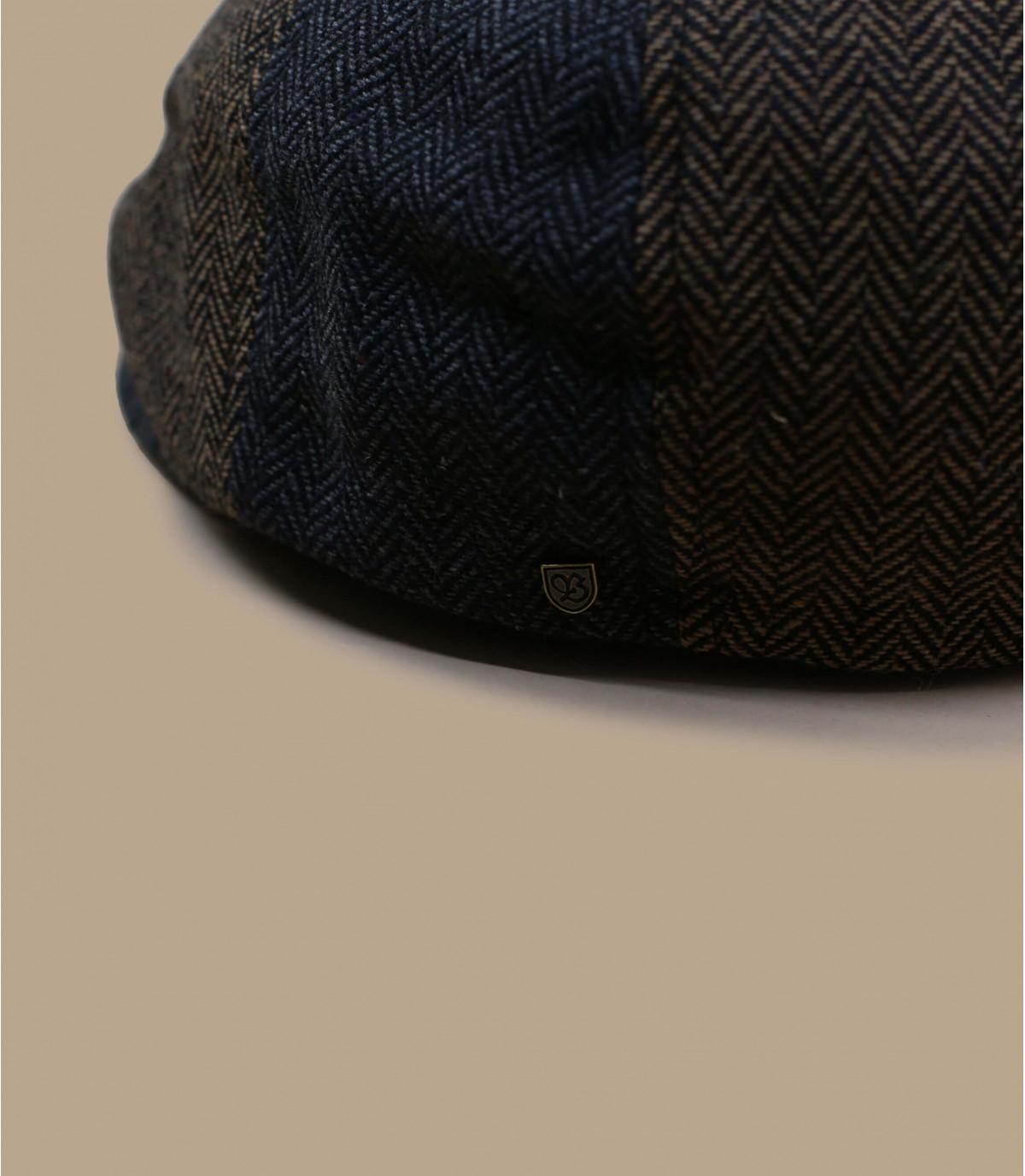 Brown grey herringbone newsboy cap