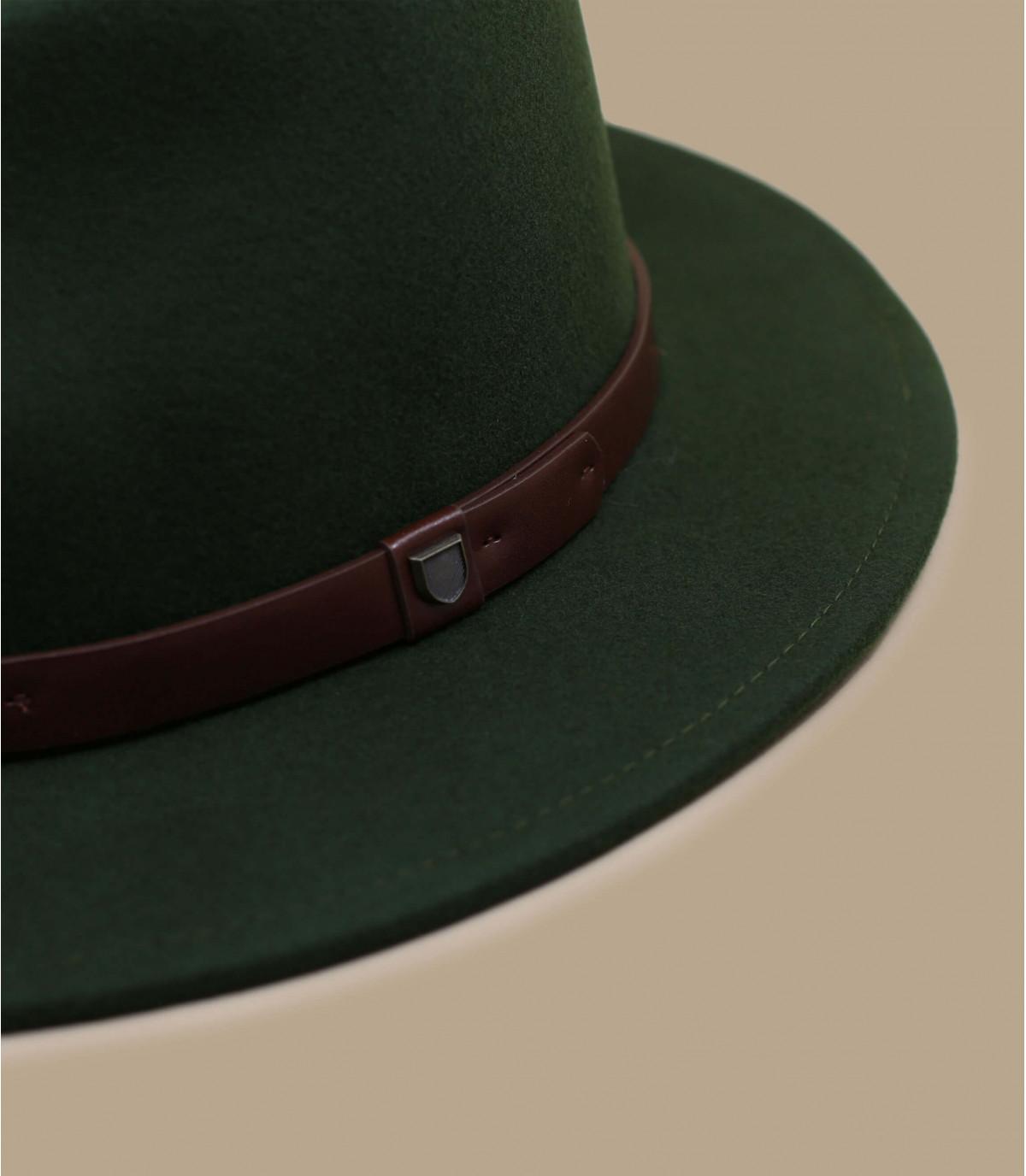 fedora green felt leather ribbon