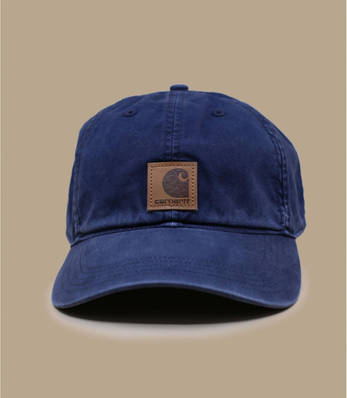 blue Carhartt curve cap patch
