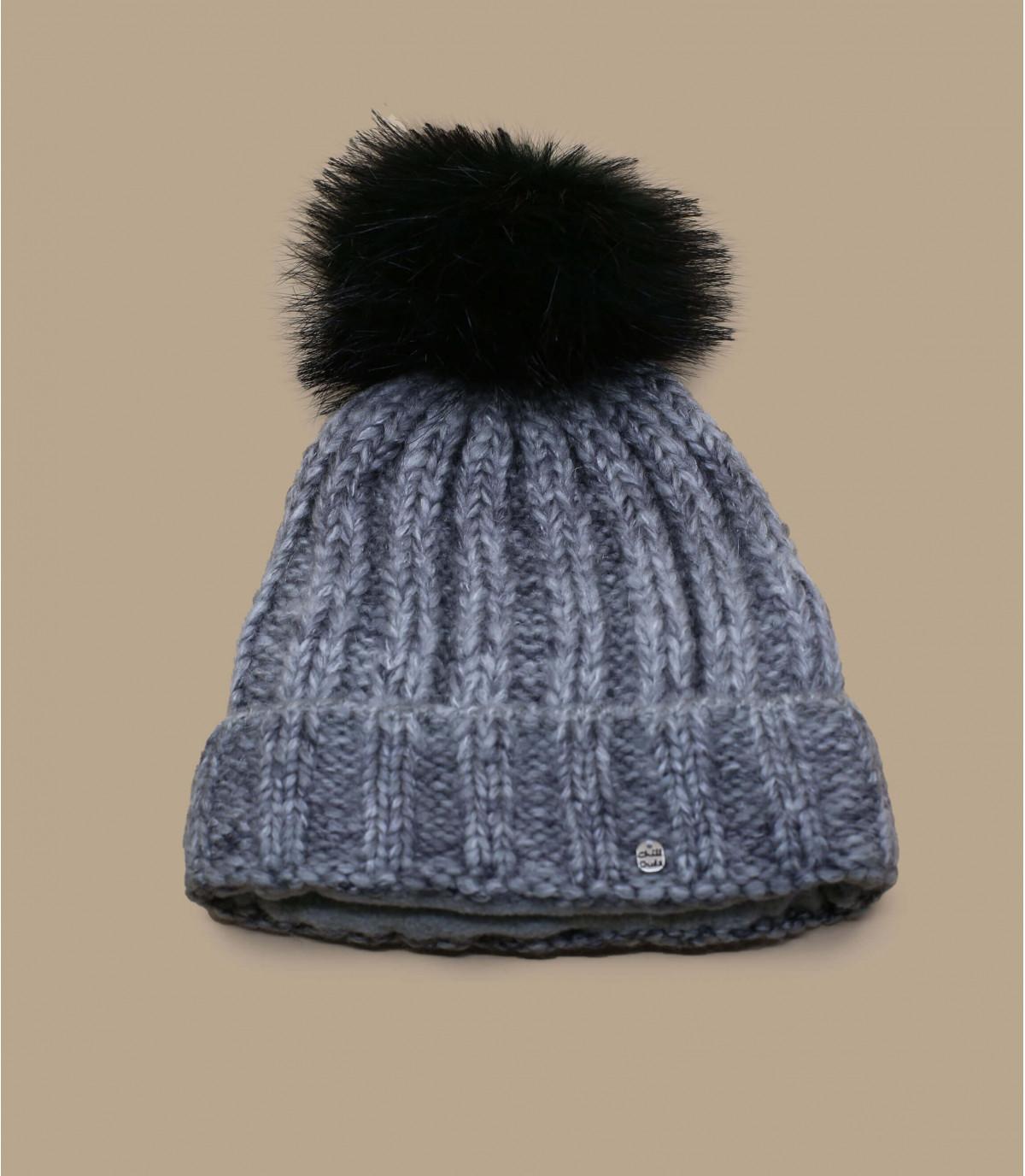 grey beanie black pompom