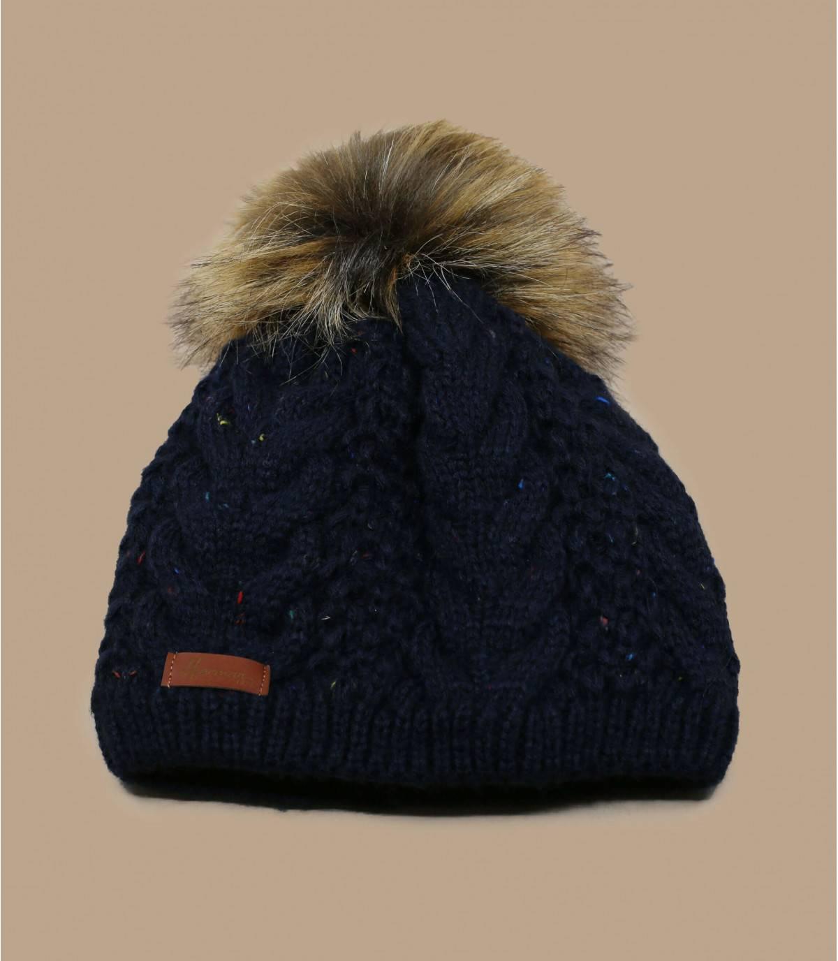 blue beanie fur pompom