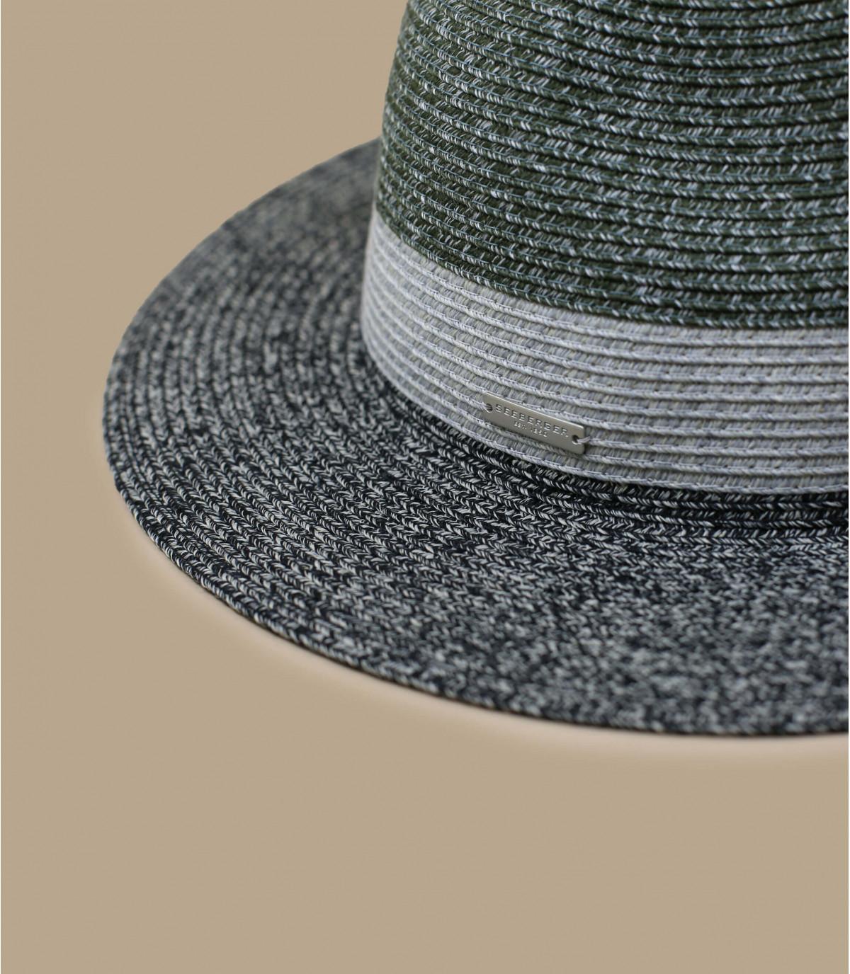 Black straw hat grey stripe.