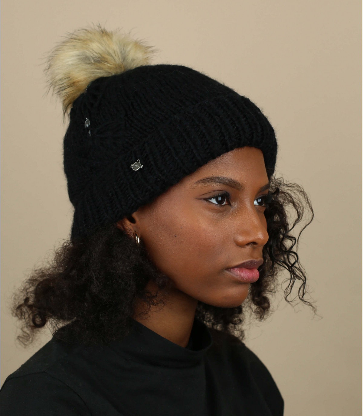 black pompom beanie rhinestone