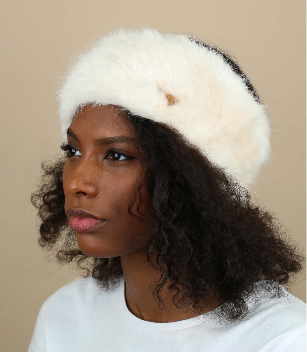 White fur headband