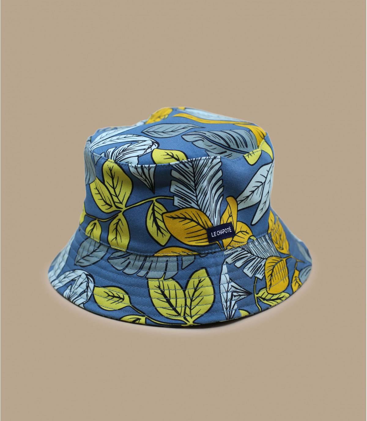 Blue yellow printed bucket hat