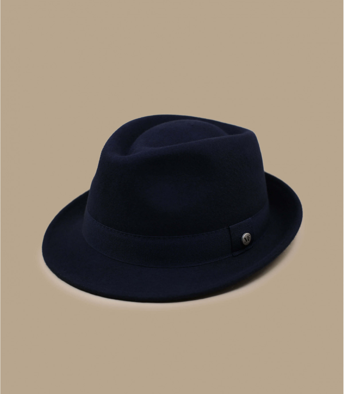 navy blue wool trilby