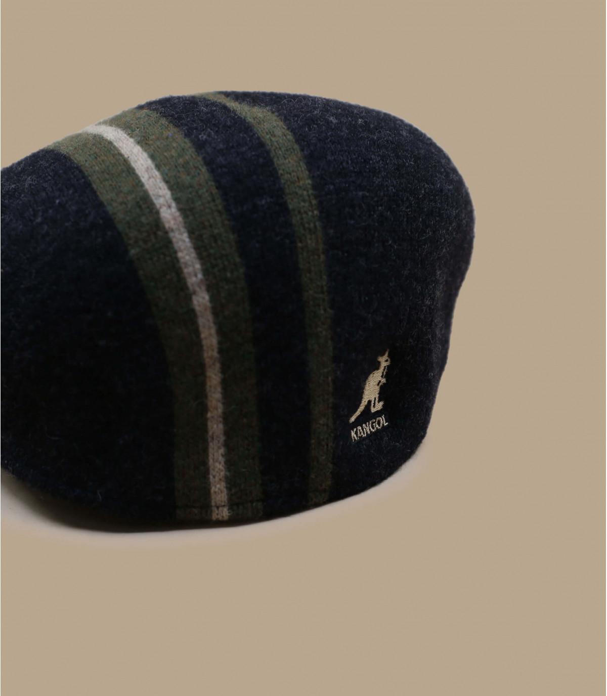 black striped Kangol flat cap