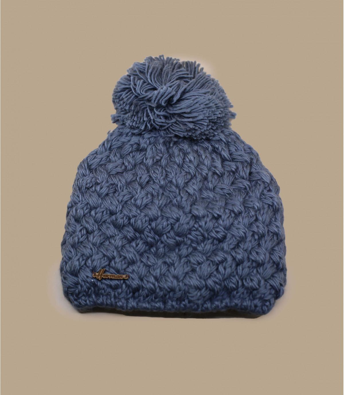 grey wool beanie pompom