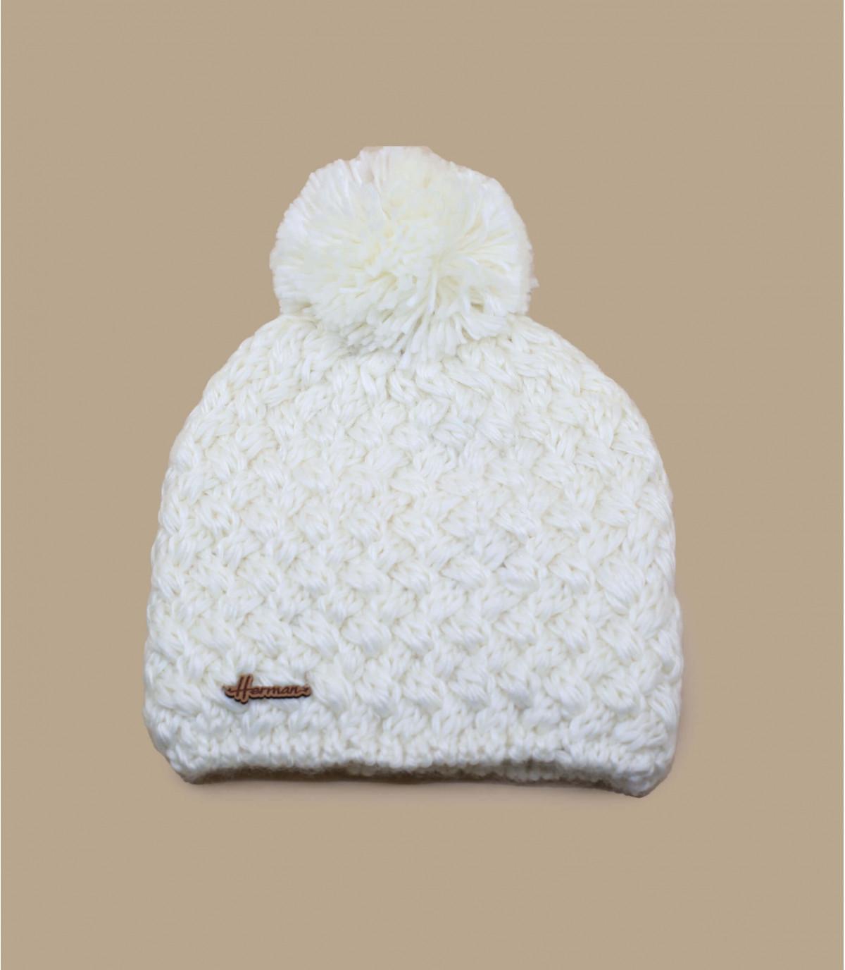 white wool beanie pompom