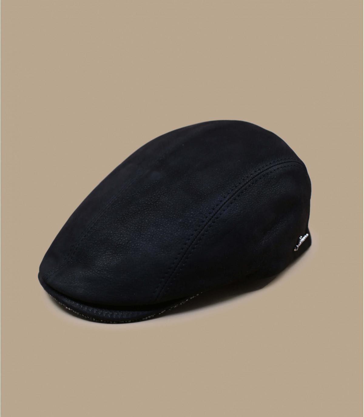 Herman black leather cap