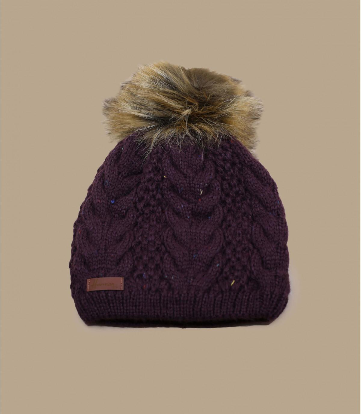purple beanie fur pompom
