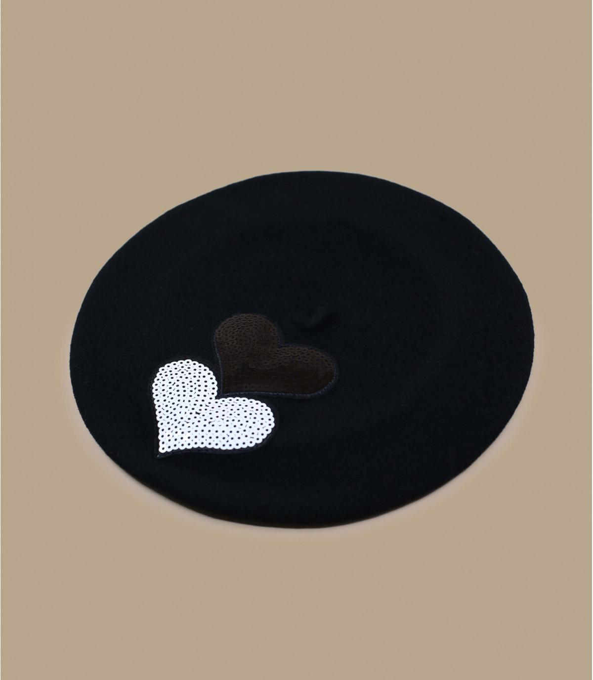 black heart sequin beret