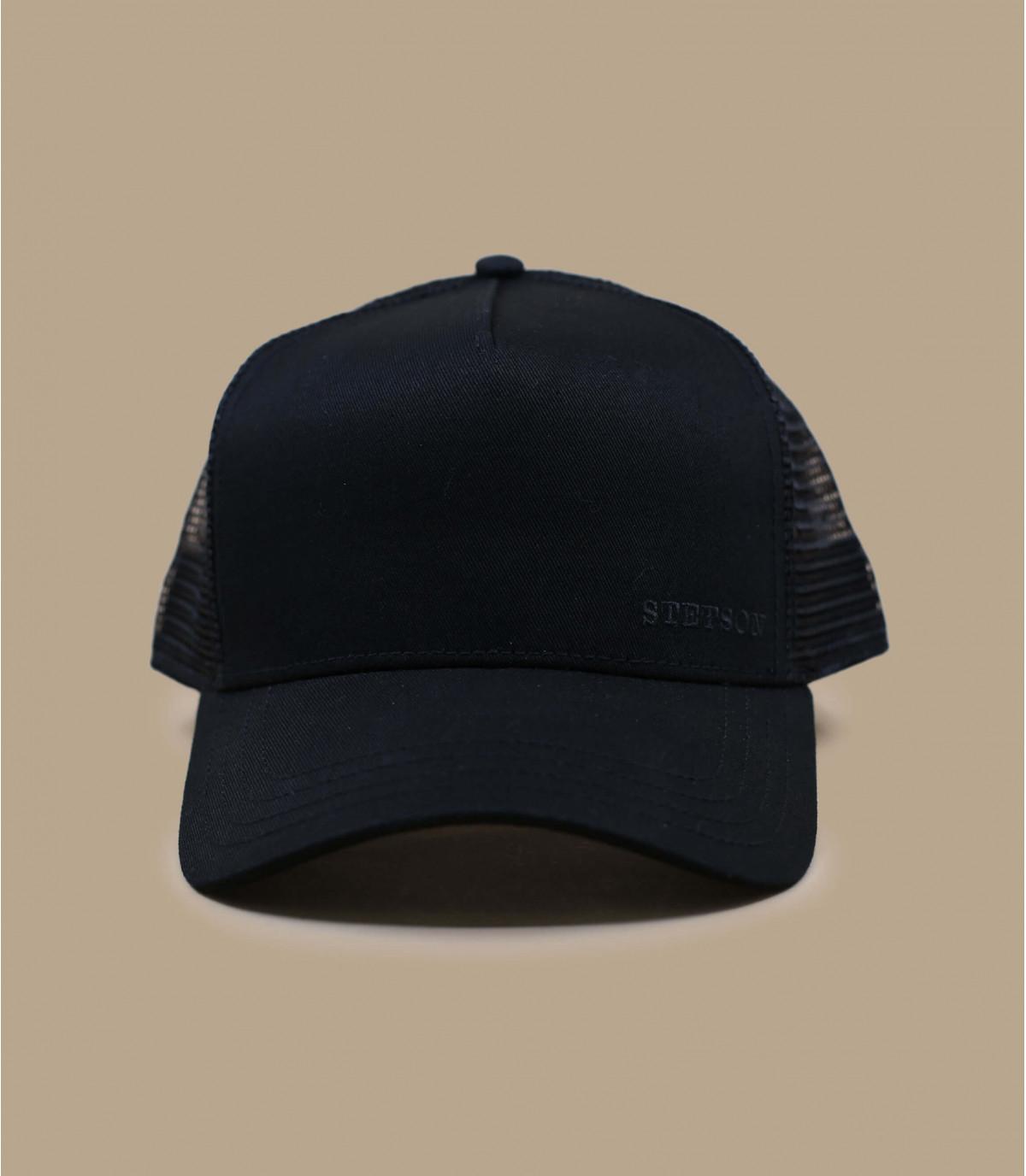 black trucker cap