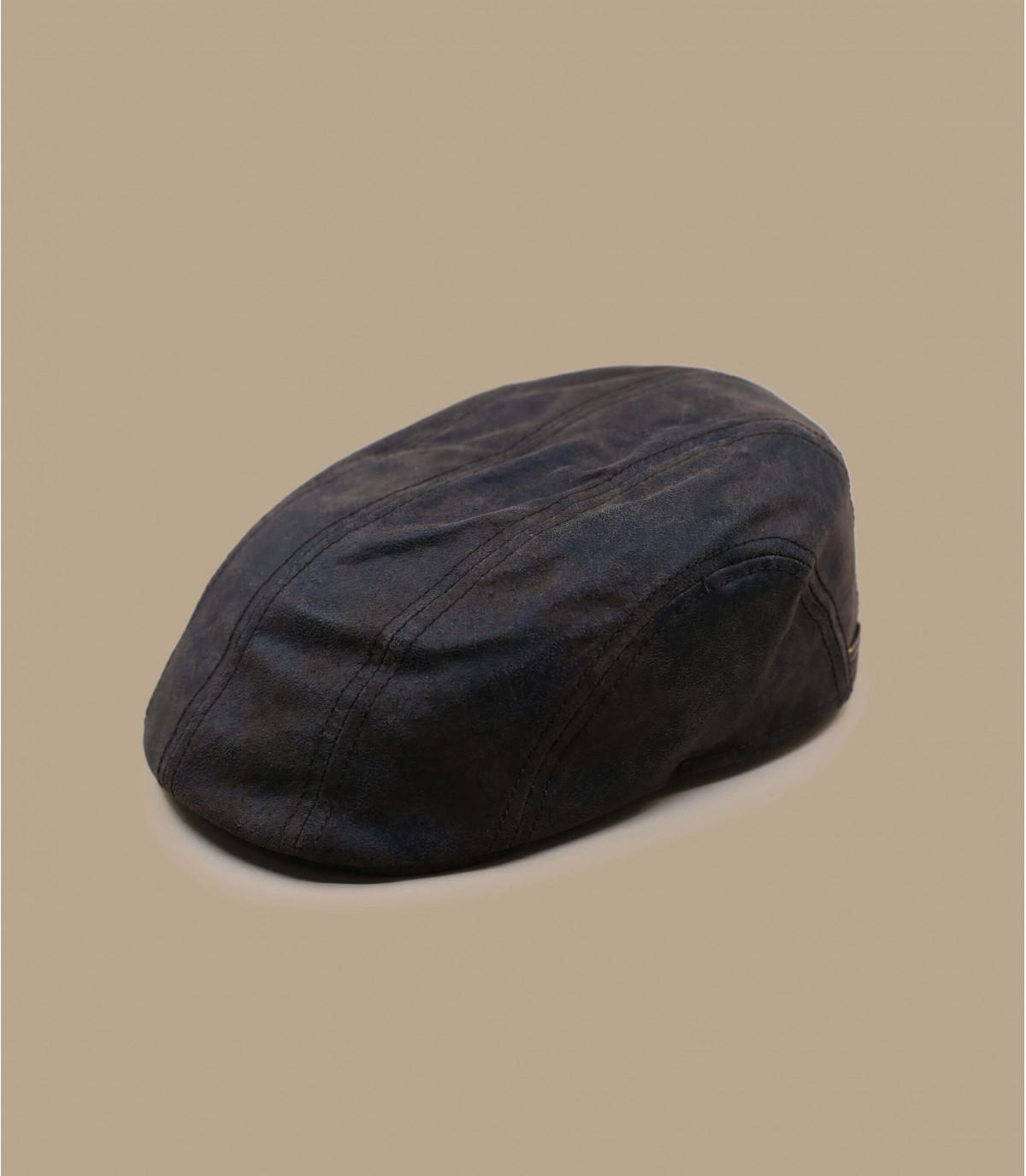 Stetson leather flat cap