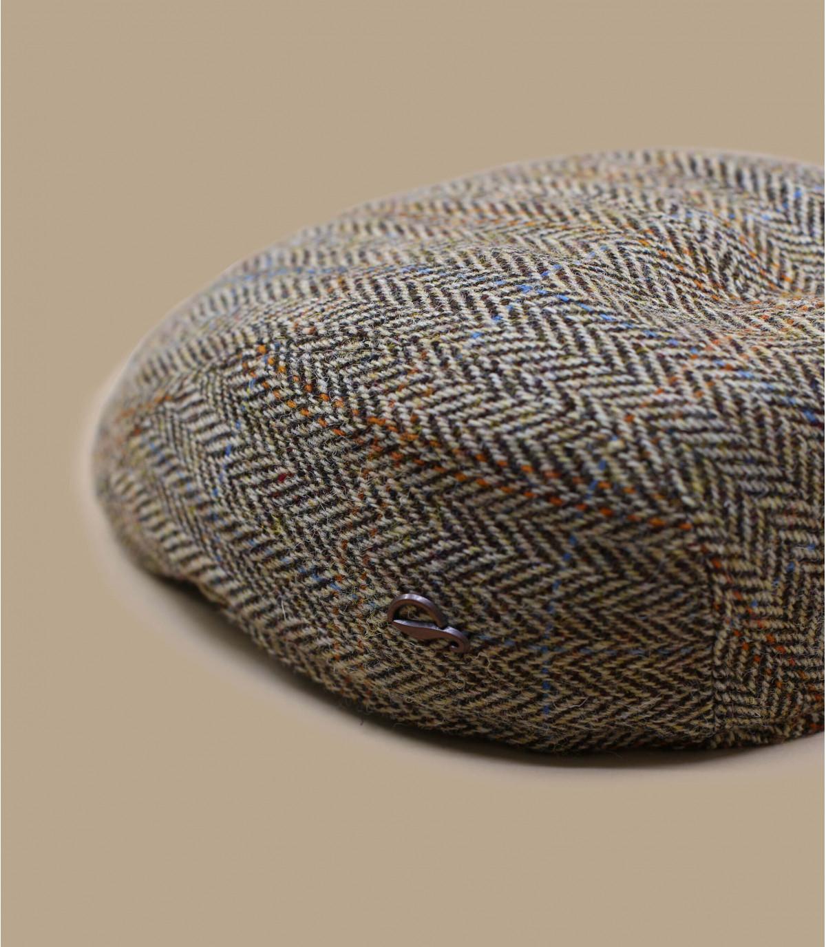 beige wool flat cap herringbone