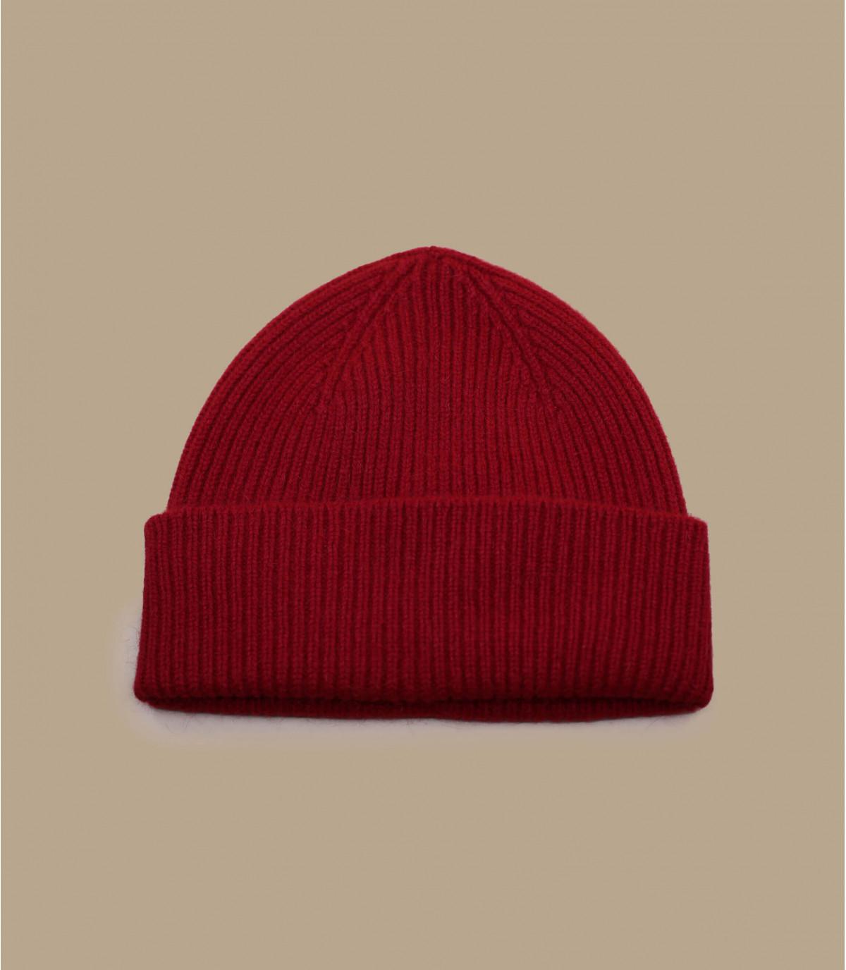 red cuffed beanie wool angora