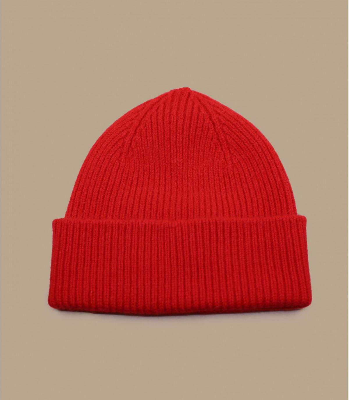 red wool angora cuffed beanie