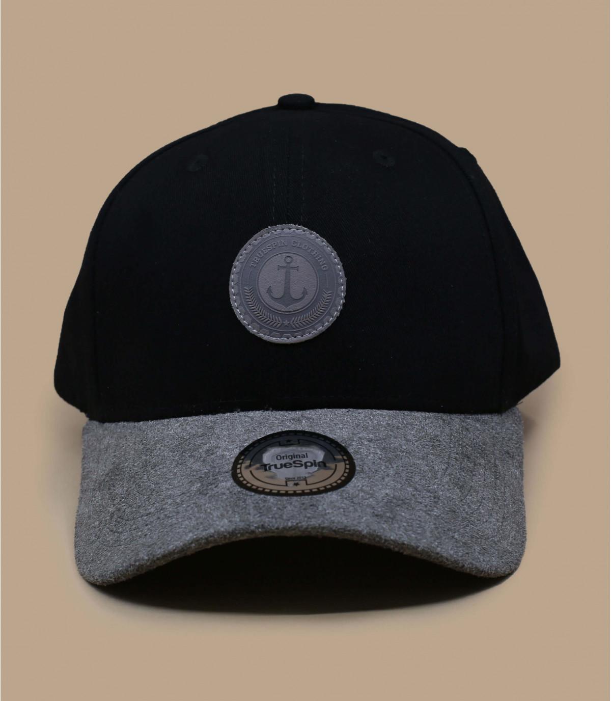 black cap leather peak