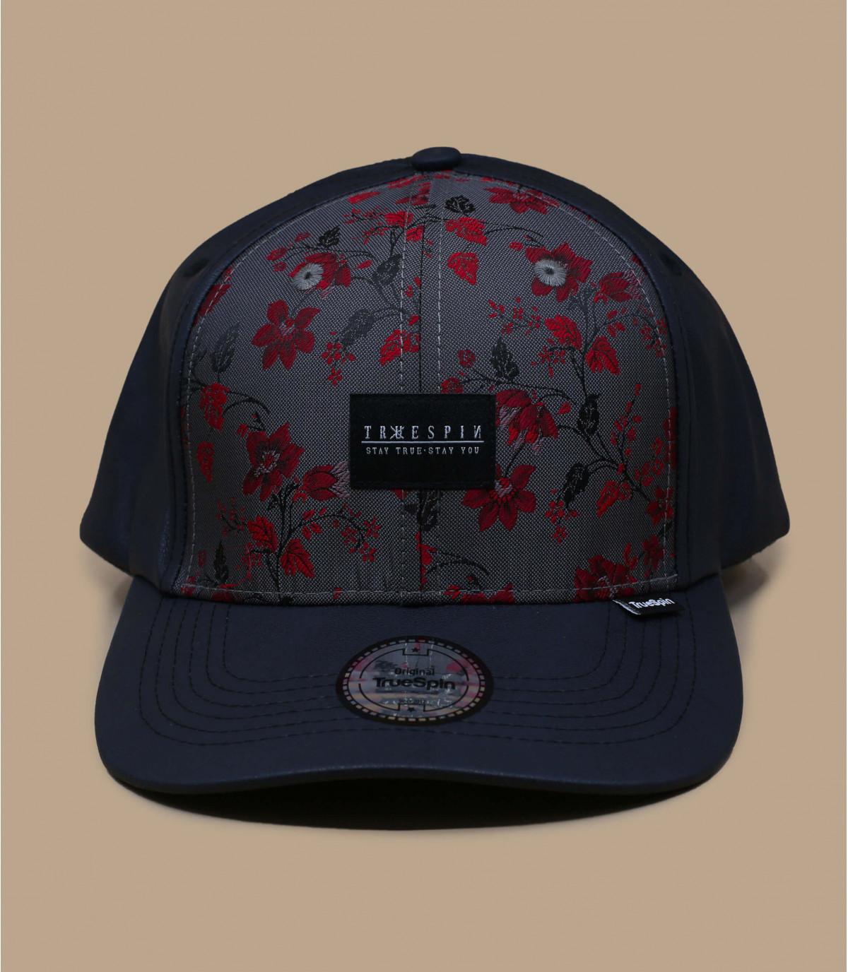 Flower leather cap