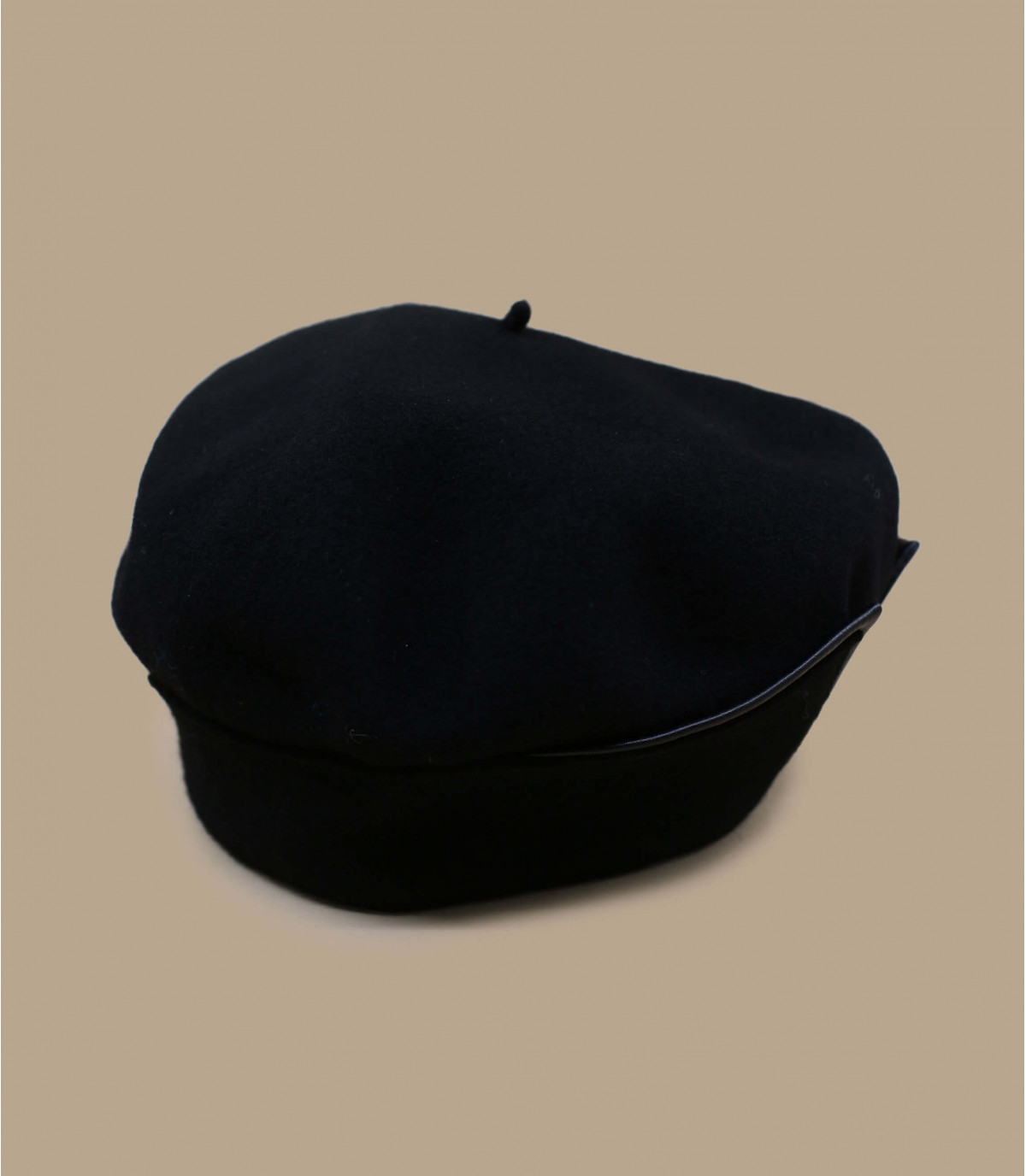 black cuffed beret leather