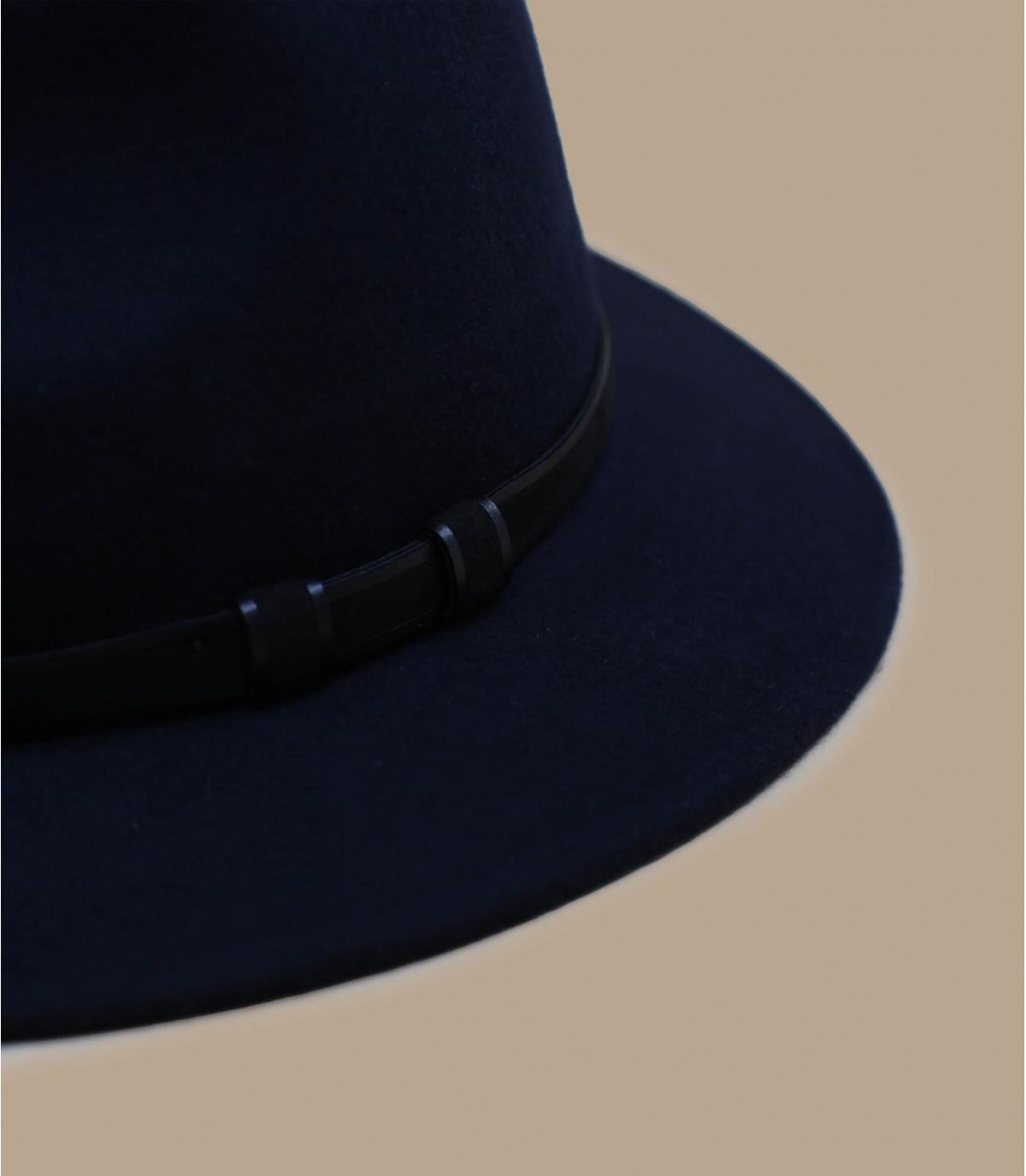 navy blue wool fedora