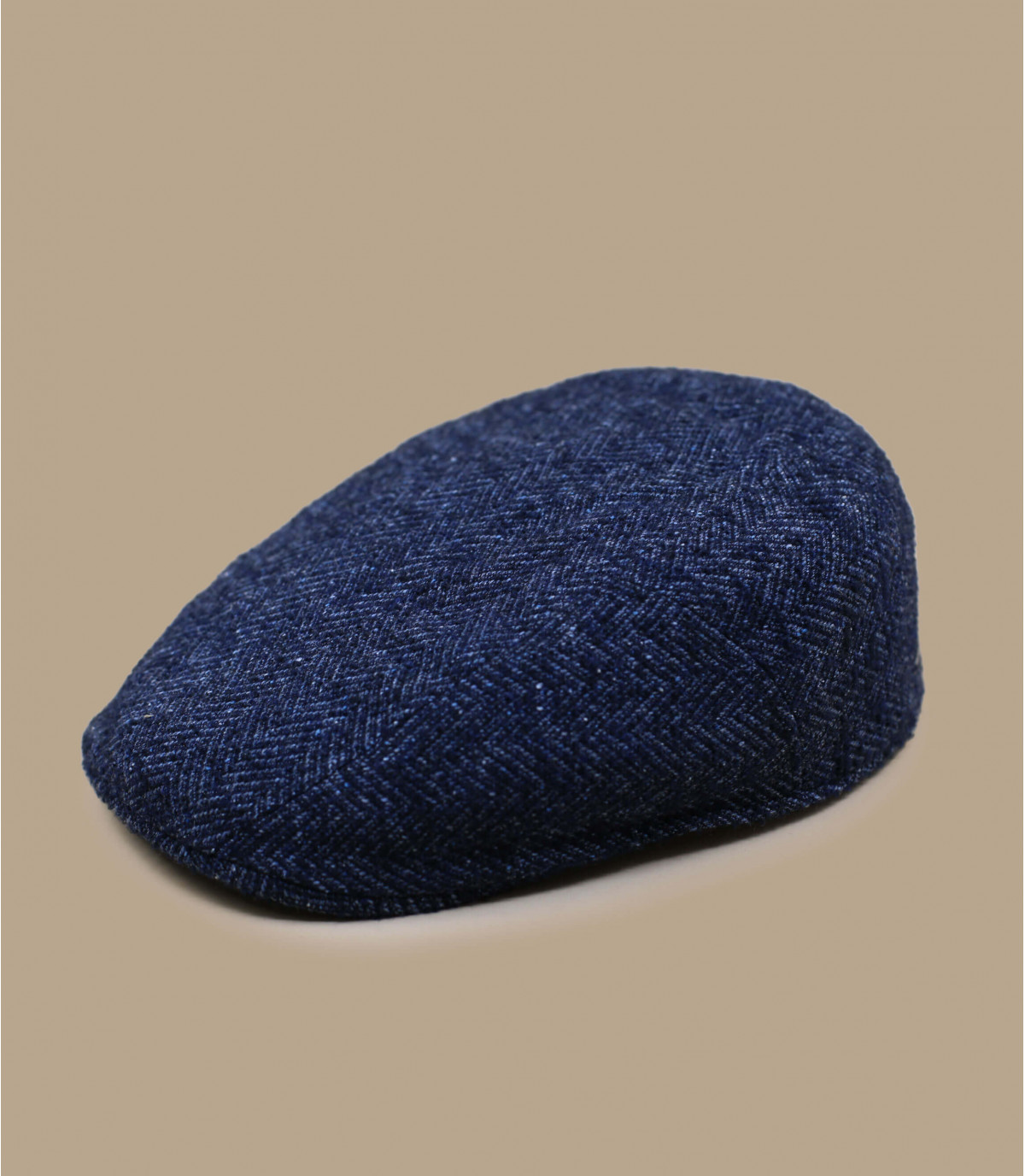 blue herringbone flat cap wool