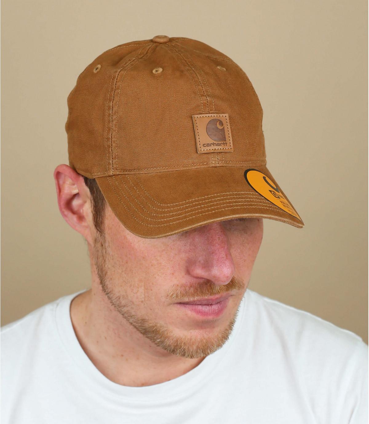 beige Carhartt curve cap patch