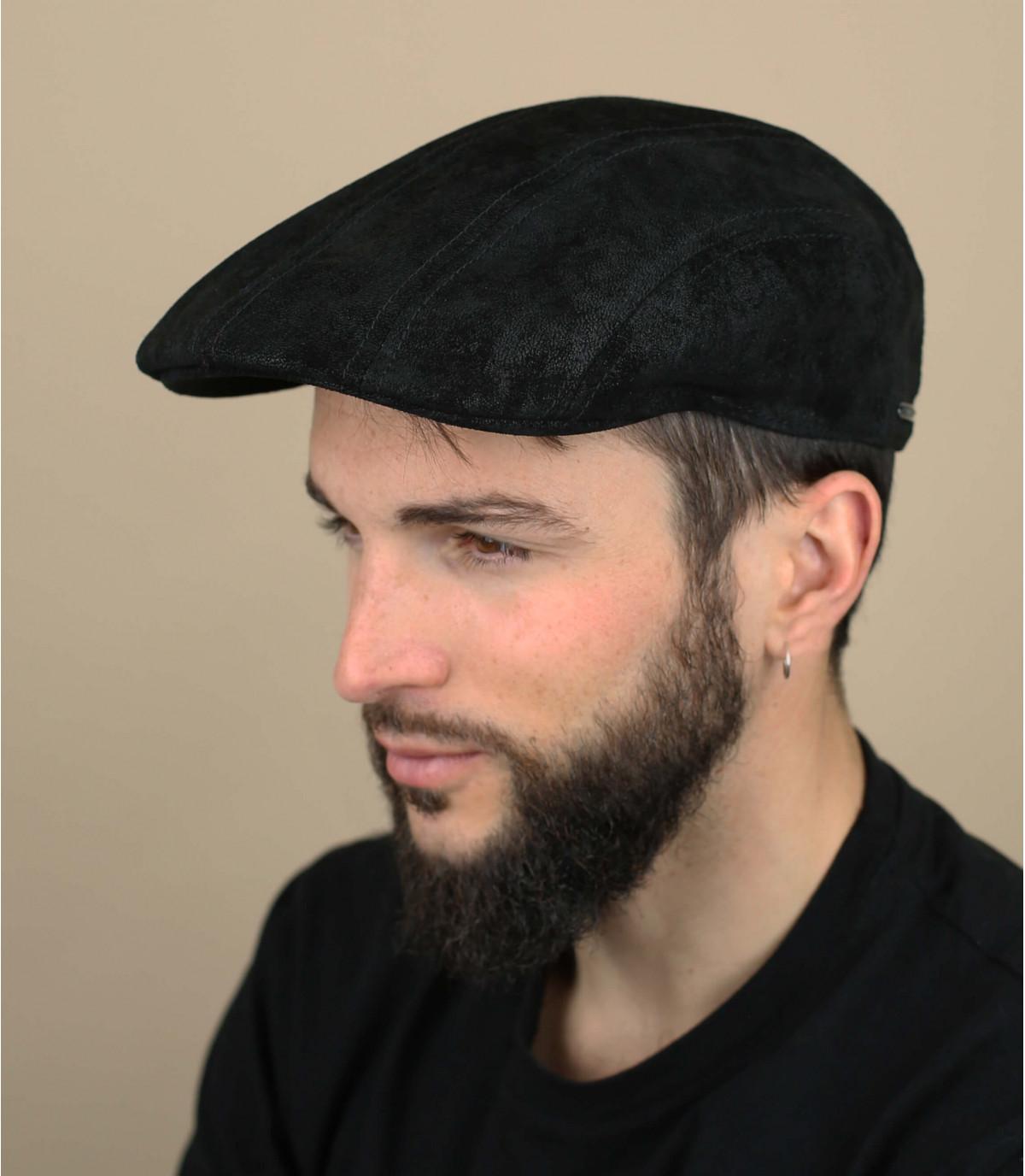 Stetson black leather cap