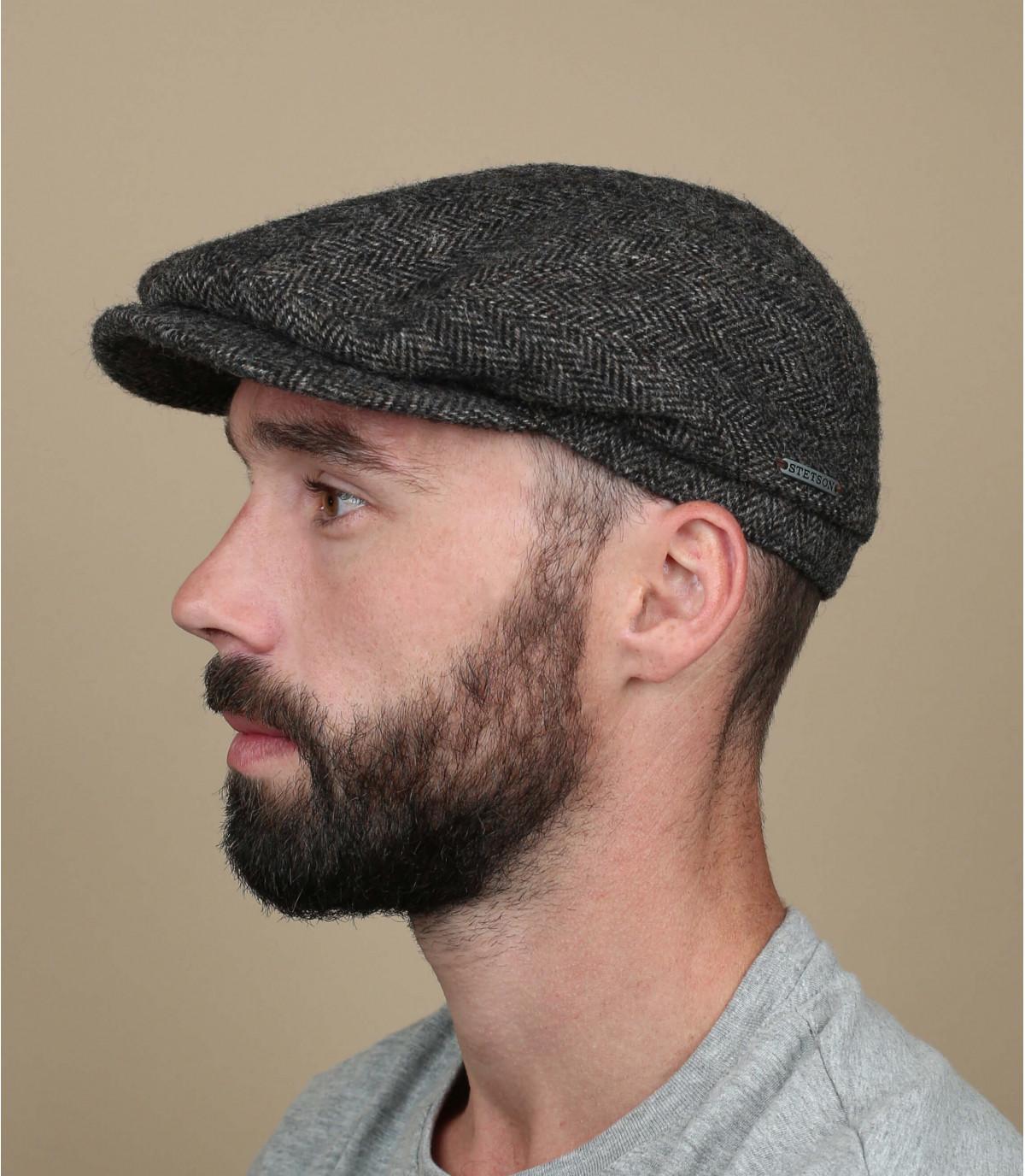 Stetson grey flat cap