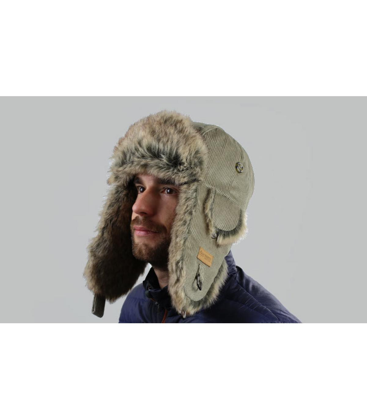 Gray classical trapper hat