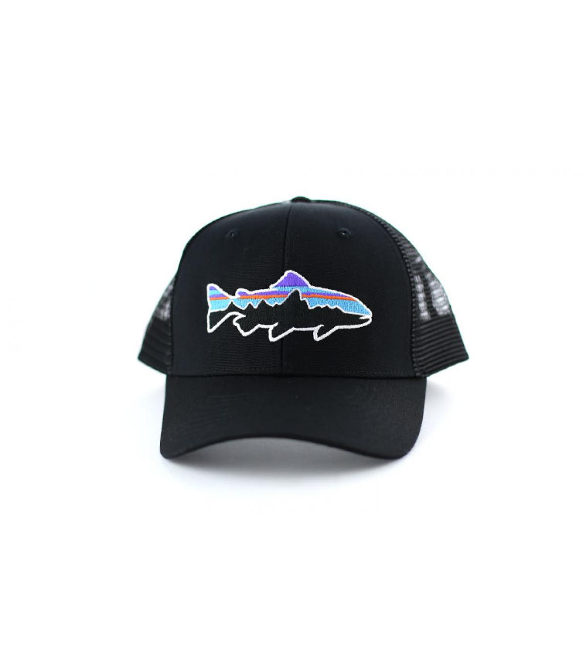 d981f94a4a07c Black trucker cap - Fitz Roy Trout trucker by Patagonia. Headict