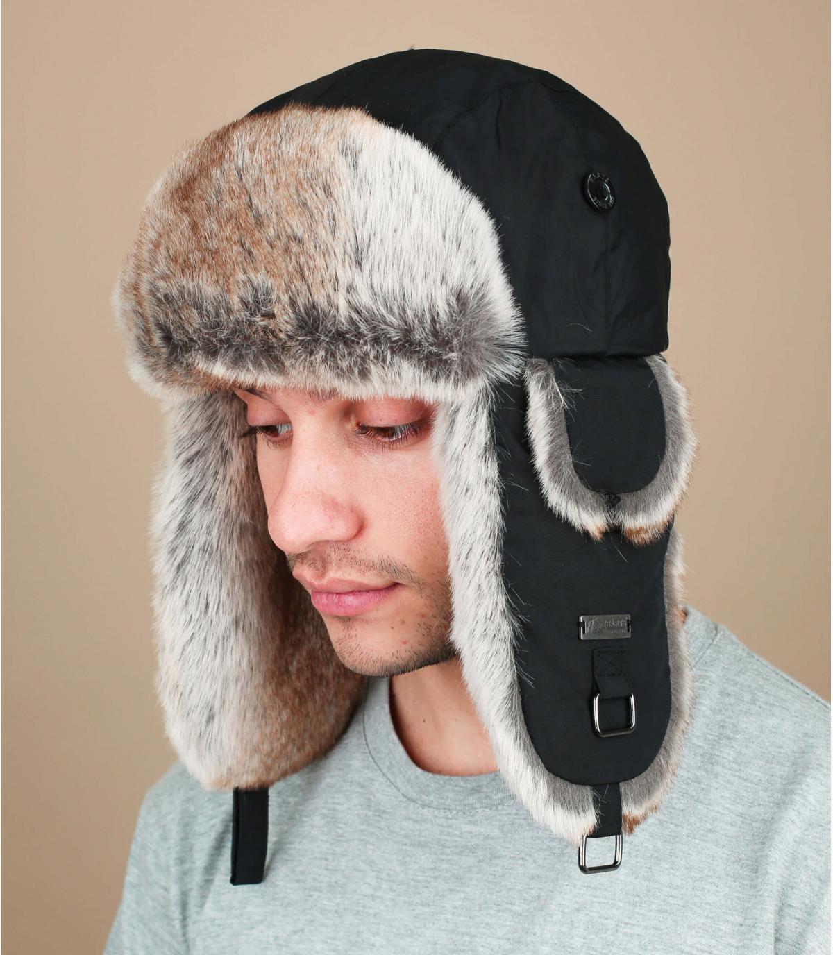 Black kamikaze trapper hat