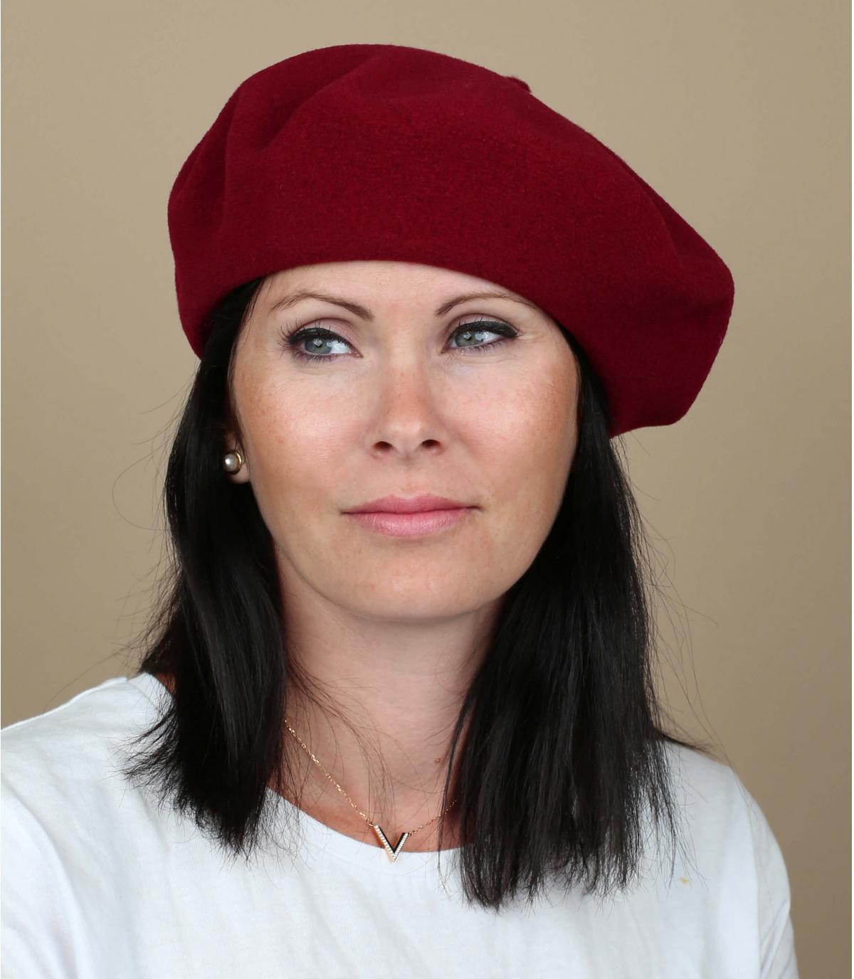 Burgundy french beret women