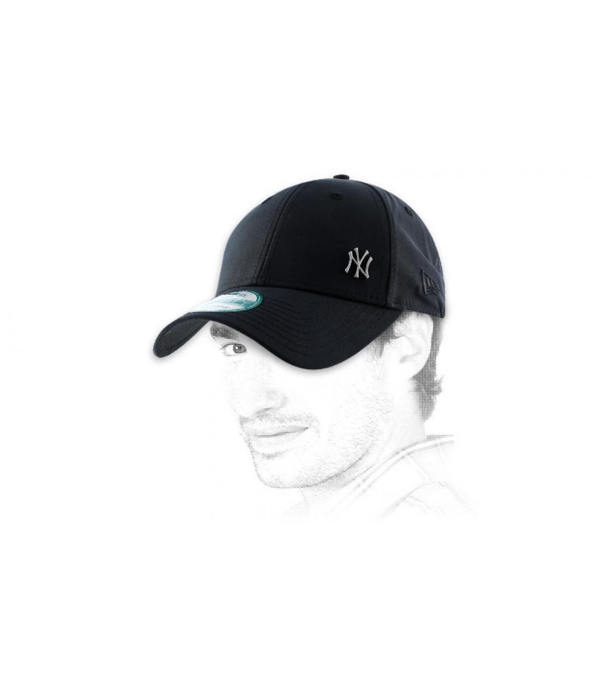 Black cap tiny NY logo