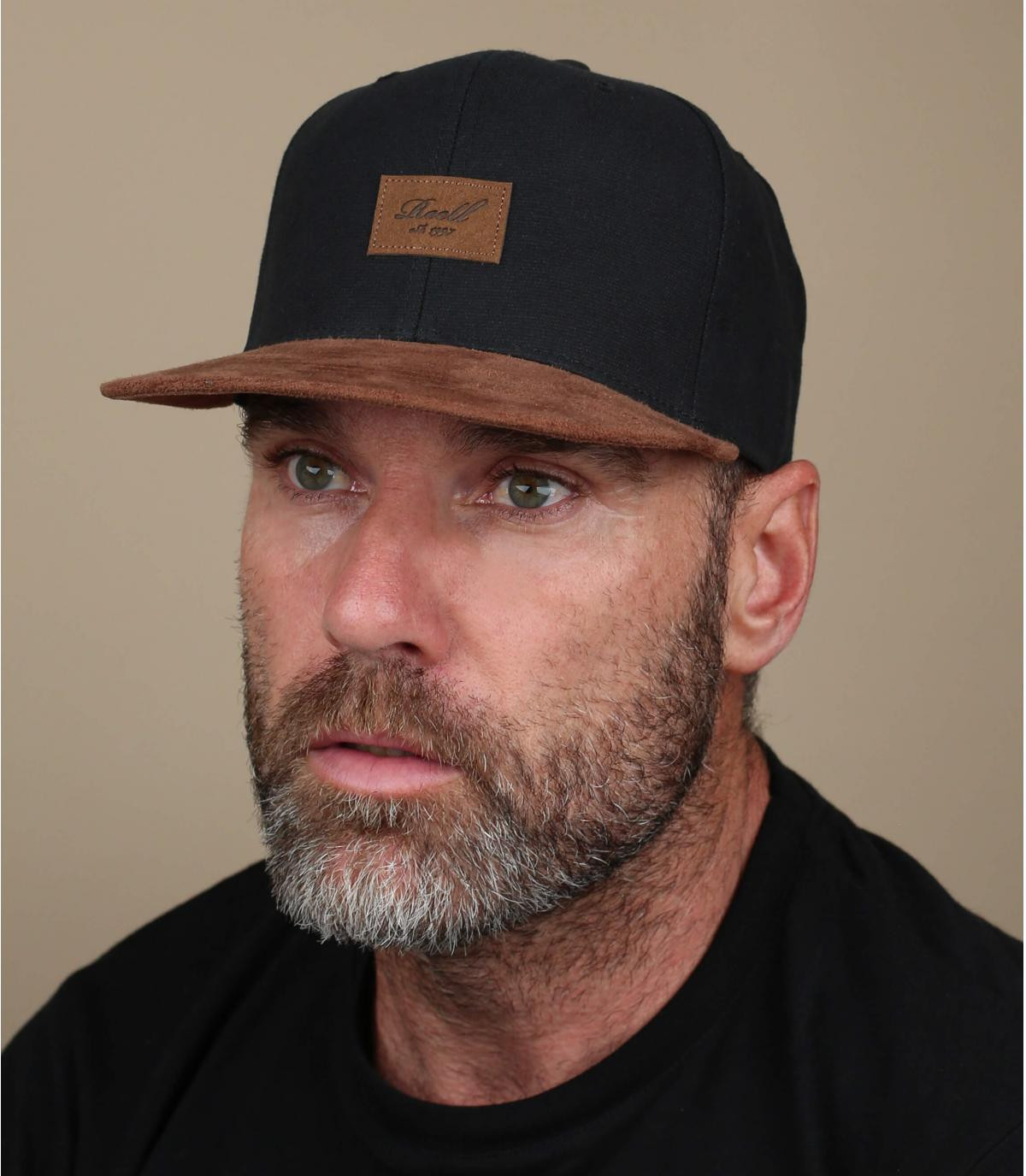 Black snapback suede visor
