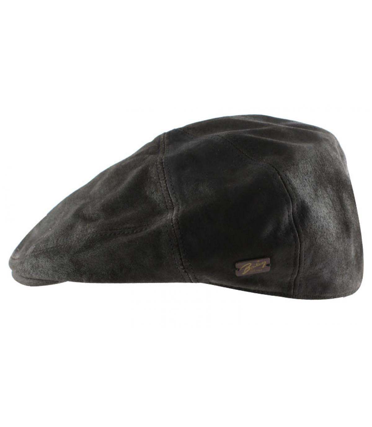 Brown leather flat cap