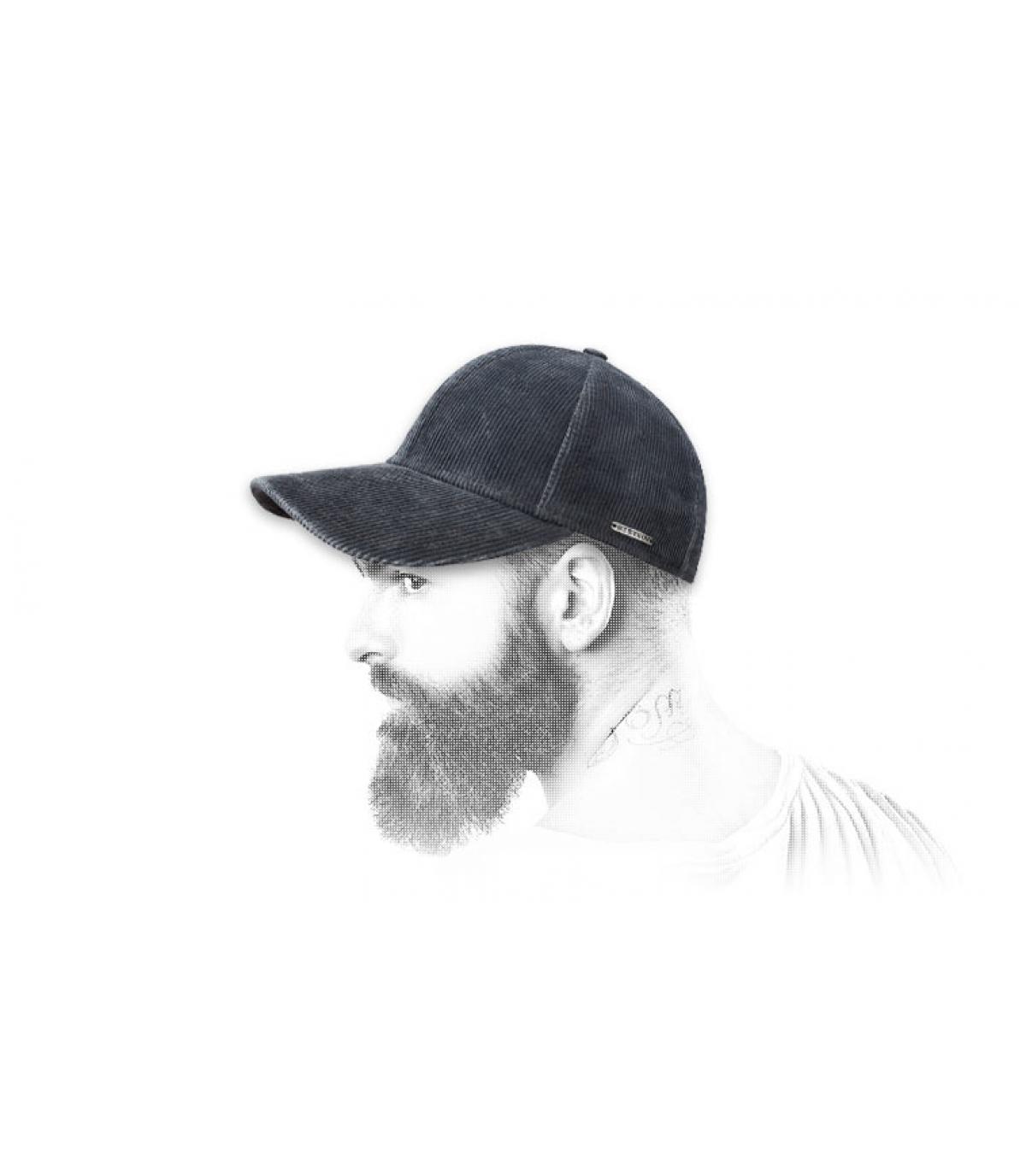 Blue velour baseball cap