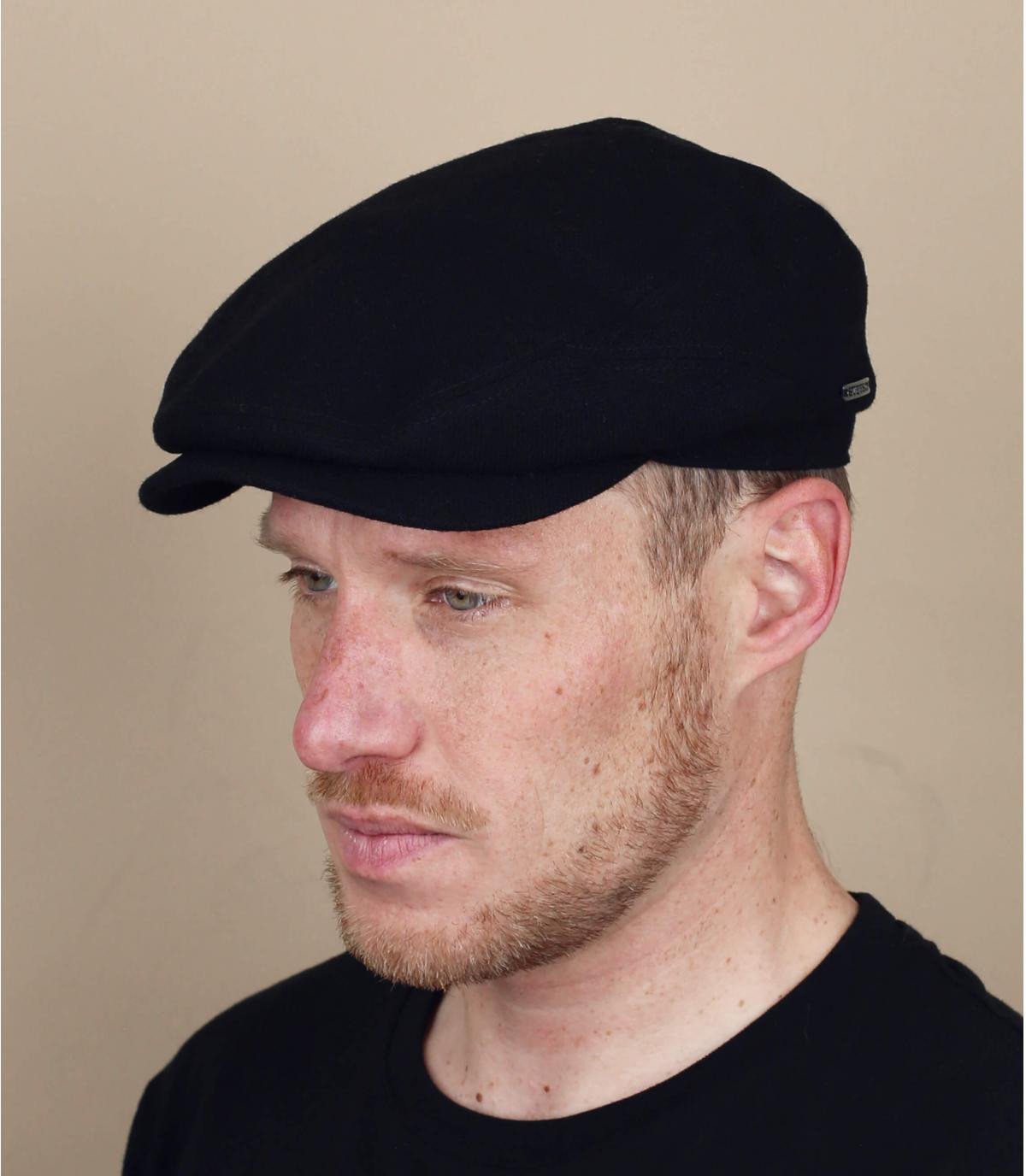 Black cashmere wool new boys cap