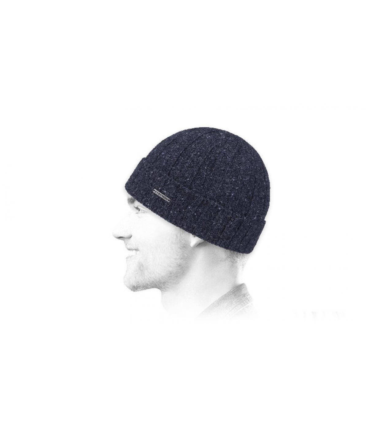 Navy wool beanie